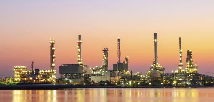 Oil refinery industry with twilight sky after sunset at Chaopray